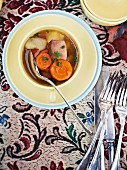 Autumnal soup with pork and root vegetables