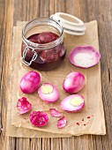 Eggs preserved in beetroot juice and vinegar