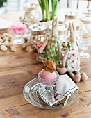 Rhubarb sorbet on a table laid for Easter