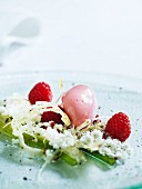 Raspberry ice cream with a fennel salad