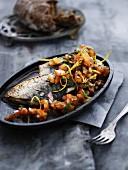 Fried mackerel with a tomato medley
