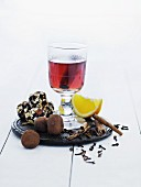 Mulled wine and chocolate truffles