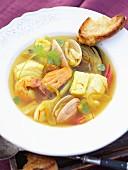 Mediterranean fish soup with saffron