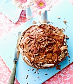 Chocolate meringue cake with chocolate mousse