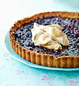 Blueberry tart with whipped coffee cream