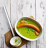 Pea soup with sausages (low carb)