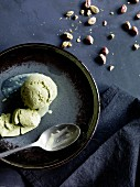 Pistachio ice cream and chopped pistachios