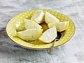 Lemon parfait served in lemon skins