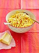 Spaghetti carbonara with Parmesan