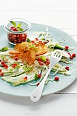 Fennel carpaccio with pomegranate seeds