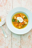 Lentil stew with pumpkin and chicken