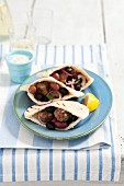 Keftedes (meatballs in pita bread with tzatziki, Greece)