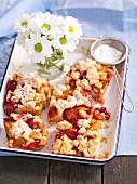 Slices of shortcrust plum cake