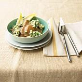 Chicory ravioli with walnut pesto