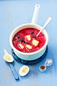 Beetroot soup with potatoes and egg