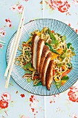 Duck breast on vegetable noodles