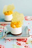 Mini coconut cream cake with mango