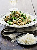 Fusilli with peas, rosemary and Parmesan cheese