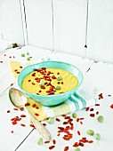 Sweetcorn and Jerusalem artichoke soup with goji berries