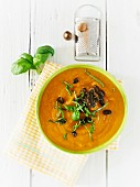 Pumpkin soup with caramelised pumpkin seeds and basil