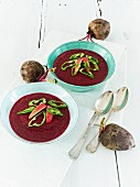 Beetroot soup with apples and green chillis