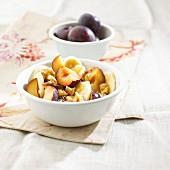 Autumnal plum muesli with walnuts