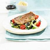 Char fillets with summer vegetables