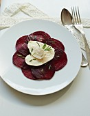 Beetroot carpaccio with mozzarella