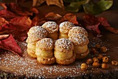Hazelnut macaroons filled with coffee and hazelnut cream