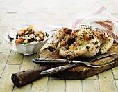 Roast chicken with a white bean salad