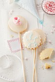 Christening biscuits on sticks