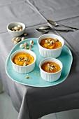 Pumpkin flans with pistachio nuts