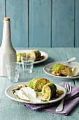 Savoy cabbage roulade filled with quinoa