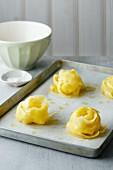 Potato nests on a baking tray