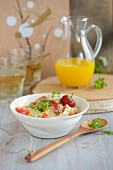 Fresh grain muesli with strawberries