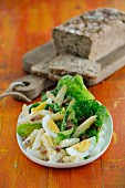 An asparagus salad with cos lettuce and eggs