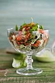 Barley salad with smoked salmon, dandelion and wasabi