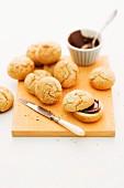 Coconut rolls with chocolate cream