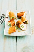 Mini asparagus and cream cheese rolls
