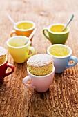 Pumpkin and amaretti soufflés in espresso cups