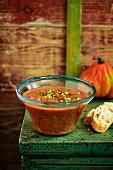 Gazpacho in glass dish