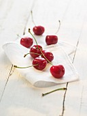 Cherries on a cloth