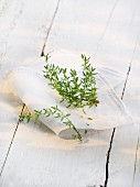 Fresh thyme on a cloth