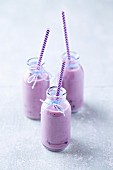 Three blueberry yoghurt smoothies in glass bottles