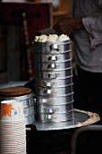 Dim sum in an aluminium steamer (Lijiang, China)