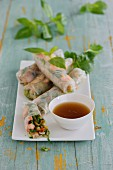 Rice paper rolls with prawns and bok choy