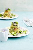 Potato towers with stinging nettle leaves