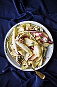Chicory and pear salad with blue cheese and walnuts for Christmas dinner
