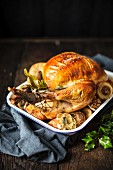 Roast turkey with garlic for Christmas dinner