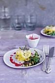 Polenta cakes with a saltbush salad